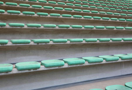 Many seats of the stadium bleachers before the event