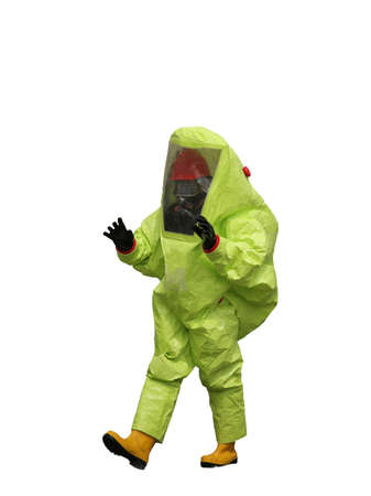 chemical warfare: Man with a yellow protective suit against radiation and chemical agents on white background Stock Photo