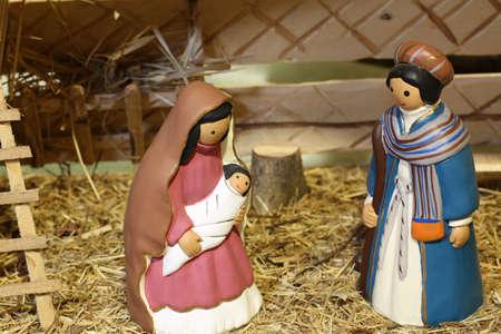Venezuela nativity scene with the Holy Family in the manger Stock Photo