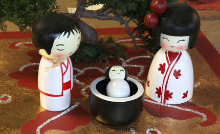 presepe: Representation in the Japanese style of Nativity Scene with statuettes of Holy family