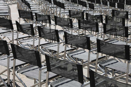 empty chairs before the live concert in the square without people Reklamní fotografie