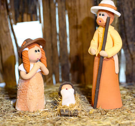 Nativity scene with the holy family from Colombia with St. Joseph with a stick Stock Photo