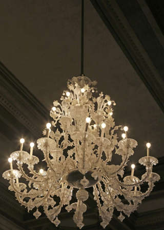luxuriously: chandelier in glass in Murano Style in the ancient Palace in Italy