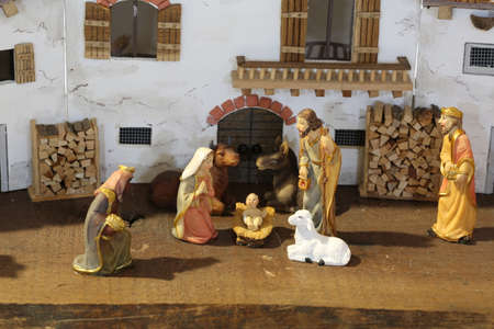 Traditional reconstruction of a nativity scene with the holy family with the ox and the donkey