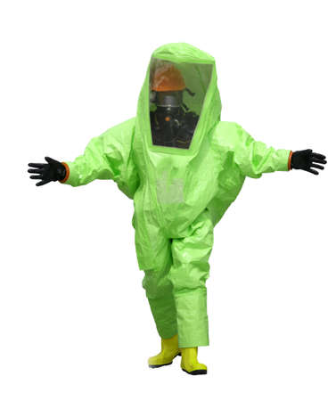 Green protective suit with air filtering system to breathe during a fire or during a bacteriological attack on white background