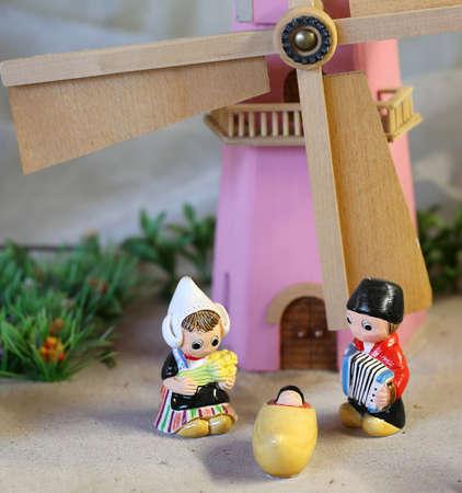 Dutch nativity scene with Holland windmill