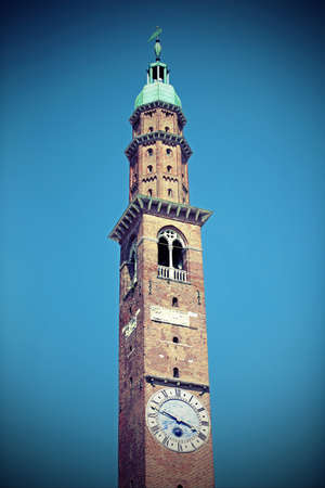 high tower of an ancient palace called Torre Bissara in Vicenza City in the Northen Italy Banco de Imagens
