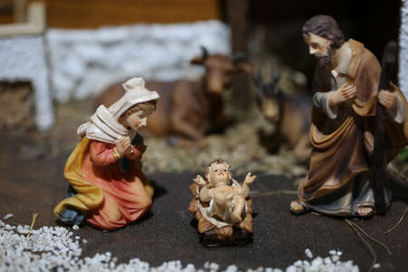 Traditional nativity scene with the Holy Family and the little baby Jesus Stock Photo - 80826182