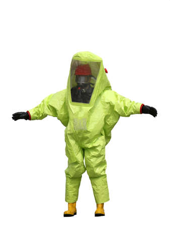 protective suit with air filtering system to breathe during a fire or during a bacteriological attack on white background