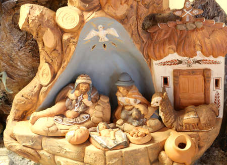 reconstruction of a nativity scene of Latin America with the holy family and the dove of peace