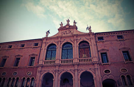 facade of ancient church of Saint Vicent called San Vincenzo in Vicenza City in Northen Italy