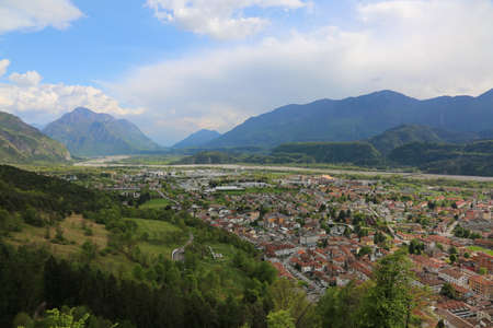 river: Panorama with the valley of the Tagliamento river and the town of Tolmezzo in Northern Italy Stock Photo