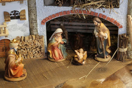Traditional nativity scene with the Holy Family and the little baby Jesus