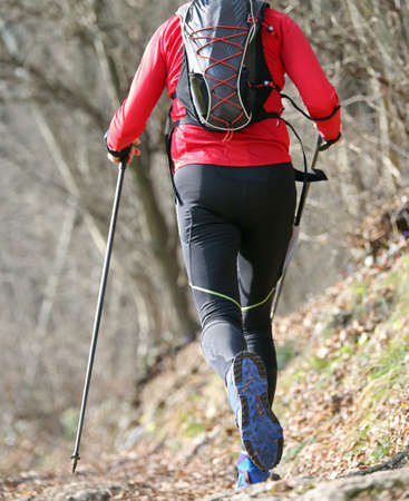 Man practices nordic walking sport on the mountain trail with poles