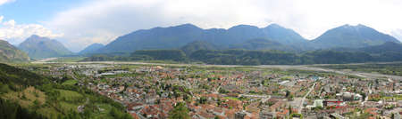 ample: very wide panorama of Town called Tolmezzo and the Valley of Tagliamento River in NJorthern Italy