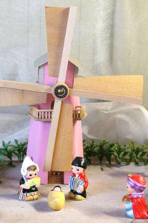 creche: nice Dutch nativity scene with Holland windmill
