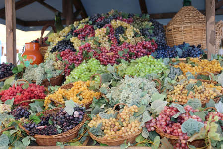 baskets of ripe grapes and a carboy in autumn