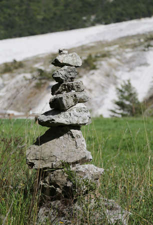 pile of stones like symbol of prayer in mountain