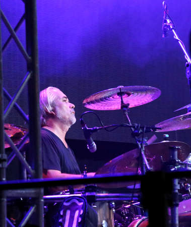 daniele: Bassano del Grappa, VI, Italy - April 29, 2017: Campani Daniele the drummer of Nomadi an Italian Rock Band on the stage during the live concert in Italy