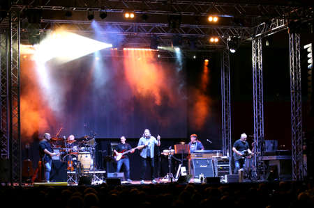 Bassano del Grappa, VI, Italy - April 29, 2017: Nomadi an Italian Band on the stage during the live concert in Italy