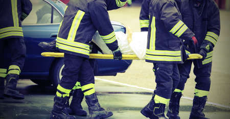 fireman: firefighters rescued the injured after a tragic car accident