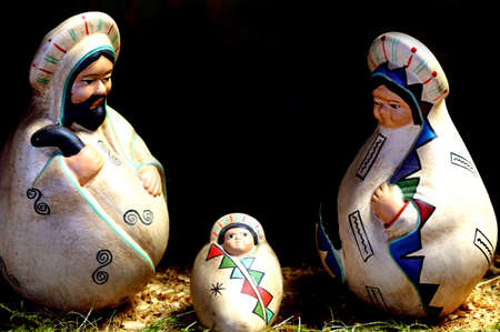 Nativity scene with the holy family in Latin American style with baby Jesus