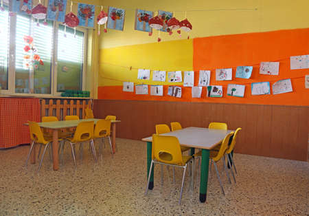 inside of a classroom of the kindergargen without kids