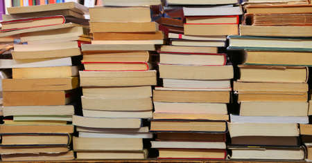 Background of many books of many sizes  for sale in the library Stock Photo
