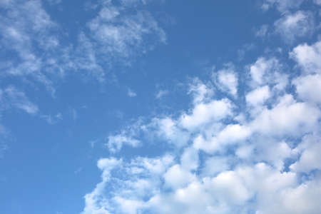 Simple and beautiful blue sky background with white clouds Banco de Imagens