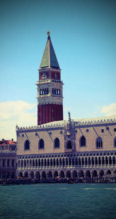 VENICE Italy High Campanile of Saint Mark and Ducal Palace with lomo vintage Effect Editorial