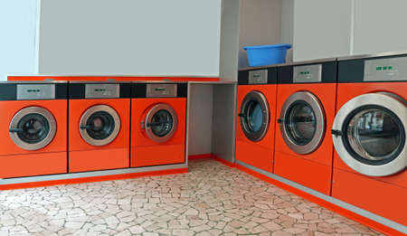 Automatic coin operated laundry with large portholes for washing dirty cloths