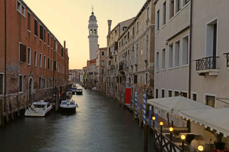 white belltower in Venice called Campanile dei Greci that means Belltower of the Greeks