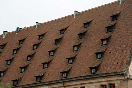 Strange roof of the house with many dormer windows