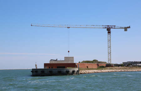 Mose building in Northern Italy is a project to protect Venice and other islands from flooding