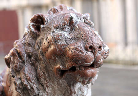 Ancient statue of a marble LION in the island of VENICE in italy