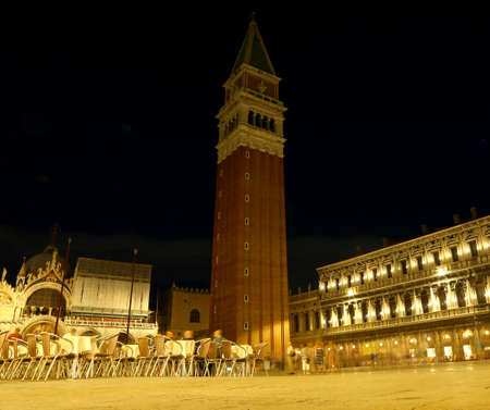 bell tower of the church of St. Mark in VENICE in ITALY by night