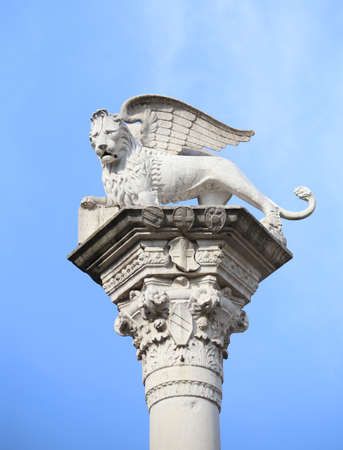 column with the lion winged symbol of the Serenissima Repubblica that means Serene Republic of Venice in Italy Stock Photo