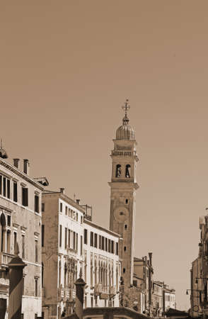 Saint George of the Greeks called San Giorgio dei Greci with its campanile in Venice in Italy with sepia effect