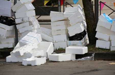 polystyrene boxes on the ground after the market in a square Reklamní fotografie - 85953220