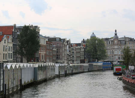 amsterdam and the great navigable canal called SINGEL with floating flower market stalls