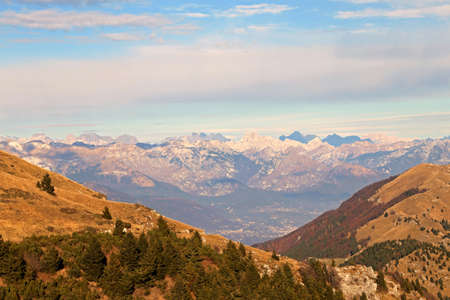 panorama from the top of the mountain called Monte Grappa in Italian and the Italian Alps Stock Photo