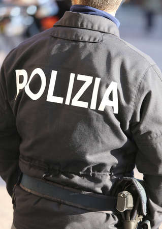 squad: Italian police officer in anti-riot squad for antiterrorist patrol on city streets