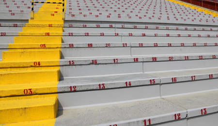 numbers on the stadium bleachers to indicate a seat at sporting events