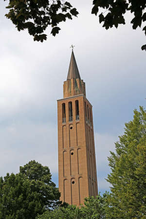 high modern bell tower of Church in Jesolo City Northen Italy