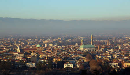 panorama from the top of the city of vicenza in Italy  with the symbol of the city called BASILICA PALLADIANA venue of the exhibition of Van Gogh paintings Banco de Imagens
