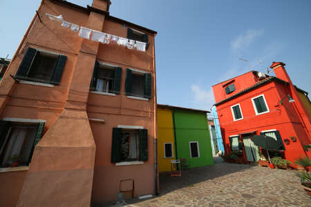 colorful houses on the island of Burano a few miles from Venice in Italy