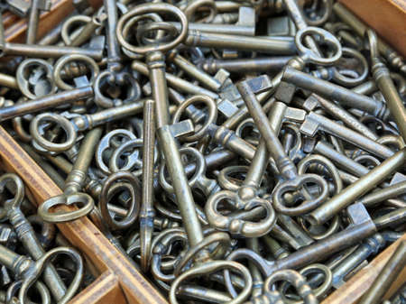 many ancient metal keys symbolize all the passwords we use today Stock Photo