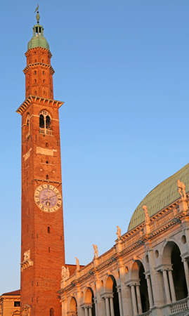 tall tower of the Palladian Basilica in Vicenza in Italy headquarters of the temporary exhibition of paintings by Van Gogh