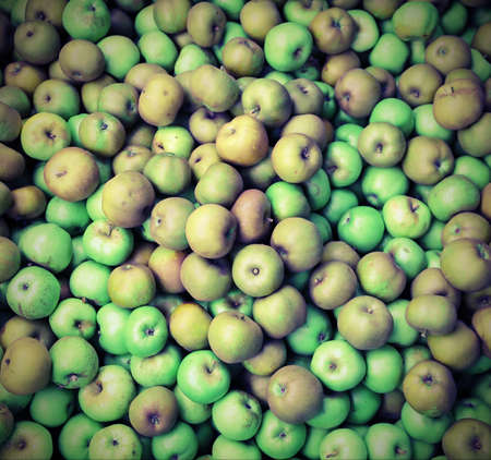 ample: many green apples greens with vintage effect