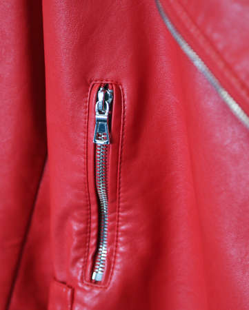 Red leather vest with metal zipper fashionable Stock Photo